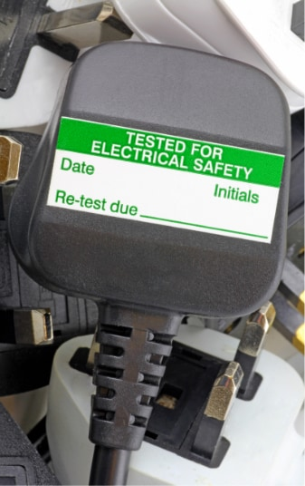 PAT testing plug with testing label